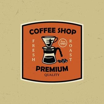 수동 양조 커피 로고 배지 그림