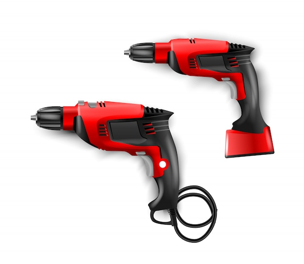 Manual, electric red hammer drill with drills. tool perforator for drilling holes in materials. puncher illustration isolated.