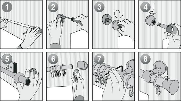 수동-커튼 봉을 벽에 설치하는 방법.