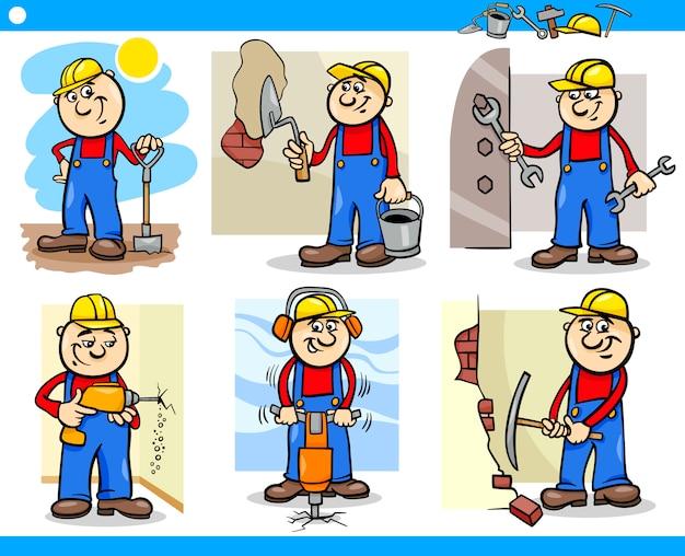 Manual workers or workmen characters set Premium Vector