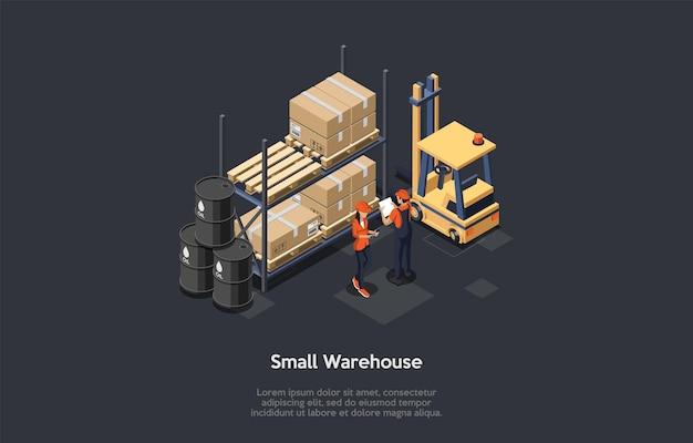 製造および保管の概念。小さな倉庫で働く制服を着た女性と男性のキャラクター。オイル付きバレル、パレット上のボックス、フォークリフト。カラフルな3dアイソメトリックベクトルイラスト。