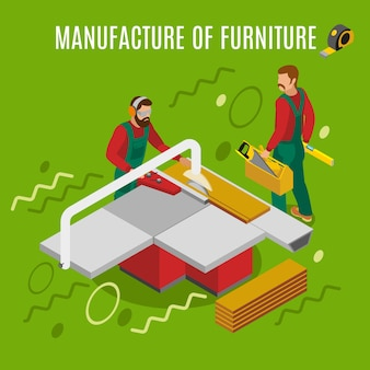 Produzione di mobili, lavori sulla composizione isometrica di attrezzature per macchinari sul verde