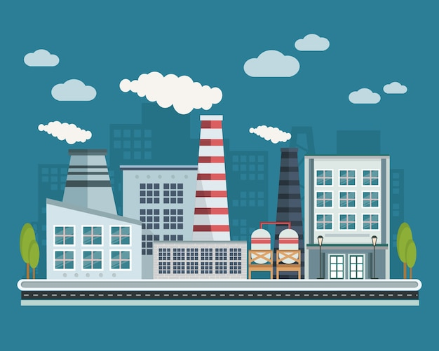 Manufacturing buildings illustration