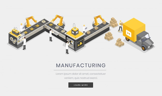 Manufacturing business. fully automated, autonomous manufacture process, industrialization