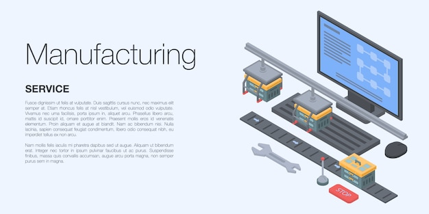 Manufacturing concept banner, isometric style