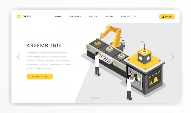 Manufacturing, constructing process landing page template. hardware engineers