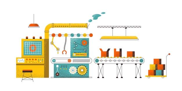 製造コンベアのコンセプト。工場の組立ライン、最新の生産技術、包装ロボット。コンベアベクトルイラスト自動パッキングを備えた現代のコンピューター産業技術