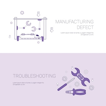 Manufacturing defect and troubleshooting concept template web banner with copy space