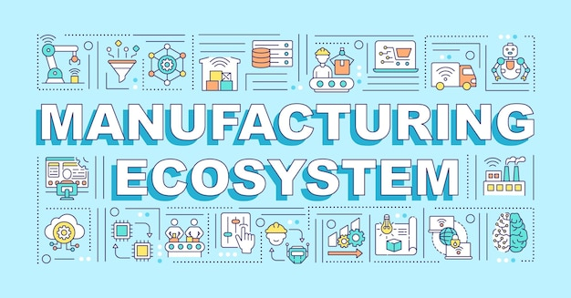 Manufacturing ecosystem word concepts banner. infographics with linear icons on blue background. supply chain management and manufacturing. isolated typography.  outline rgb color illustration