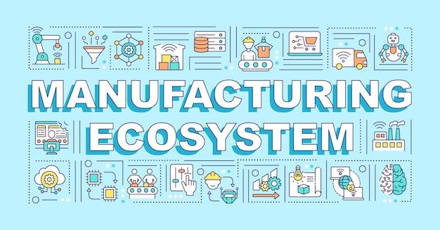 製造エコシステムワードコンセプトバナー。青の背景に線形アイコンとインフォグラフィック。サプライチェーンの管理と製造。孤立したタイポグラフィ。アウトラインrgbカラーイラスト