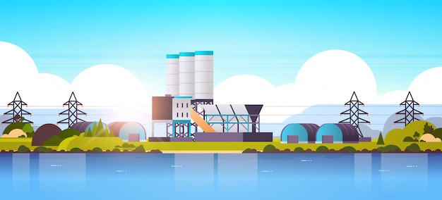 Manufacturing factory buildings near river or sea industrial