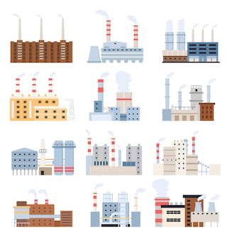 製造工場。工業ビル、発電所、原子力発電所、化学煙突。工場ベクトルセット建物産業、製造建設イラスト