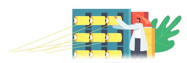 면 섬유 제조, 현대 방직 공장 작업. 원사 생산을 위한 자동화 기계. 큰 샤프트에 나사로 고정된 포장기. 플랜트 기계, 장비. 만화 벡터 일러스트 레이 션