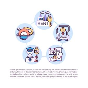 テキストと製造間接費の概念アイコン。間接費管理。固定費。 pptページテンプレート。