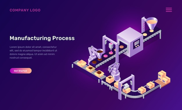 Manufacturing process cookies isometric concept