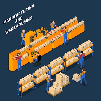 Manufacturing process isometric illustration