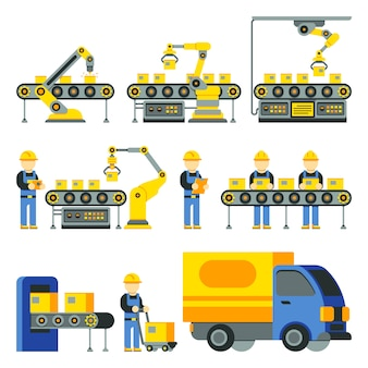 Manufacturing process with production factory line flat icons. factory equipment and industri