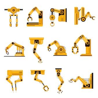 ロボットアームの製造。自動化装置、工場ロボットアームツール、製造機械科学機器手イラストセット。設備オートメーション、製造用アーム工場