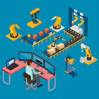Manufacturing work isometric composition