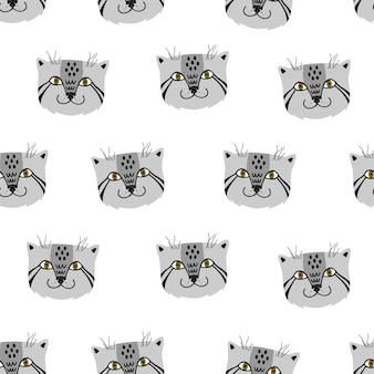 Manul. vector seamless pattern scandinavian style