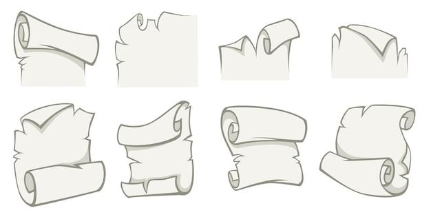 원고나 빈티지 파피루스는 찢어진 페이지 세트를 분리합니다. 텍스트 복사 공간이 있는 종이 스크롤. 메시지 또는 빈 배너입니다. 테두리가 있는 복고풍 문서 또는 골동품 레이블, 평면 스타일의 벡터
