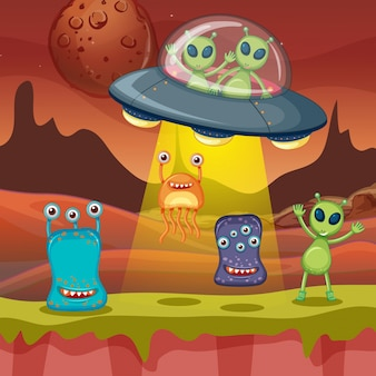 Many aliens on planet surface