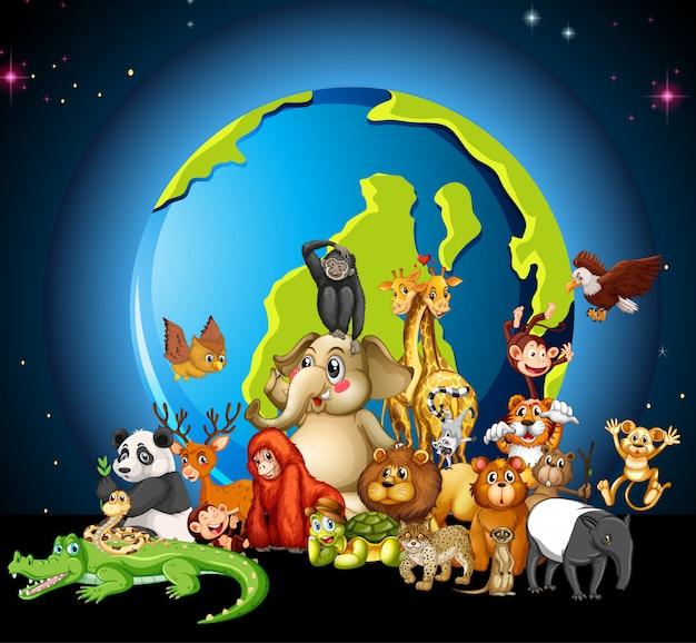 많은 동물들이 흰색 세계를 돌고 있습니다.