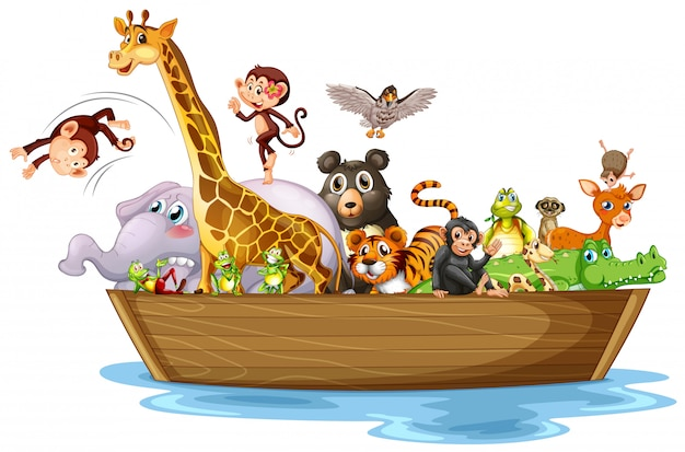 Many animals on wooden boat