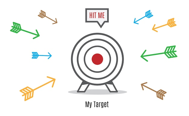 Many arrow rush to dart board, business concept, hit the target group
