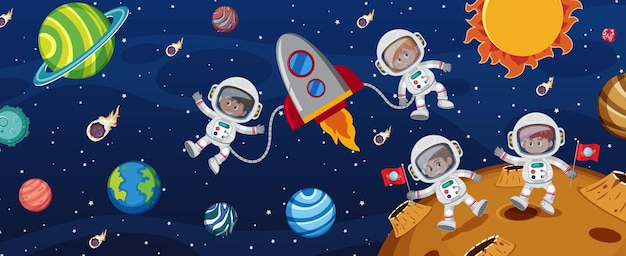 Many astronauts in the galaxy background