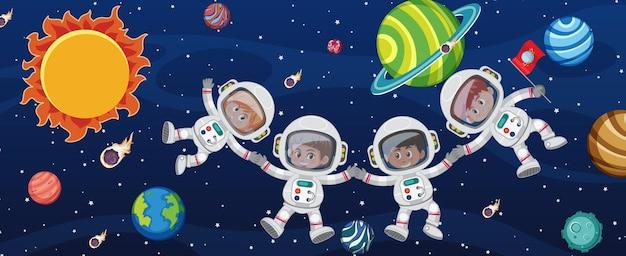 銀河系の背景にいる多くの宇宙飛行士