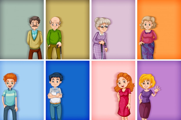 Many background template designs with men and women