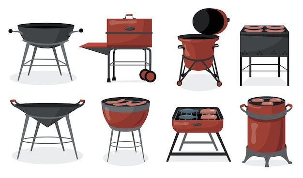 Many barbecue grills flat set