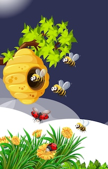 Many bees living in the garden scene with honeycomb and ladybugs