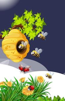 Molte api che vivono nella scena del giardino con favi e coccinelle