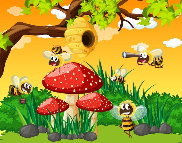 Many bees living in the garden scene with honeycomb
