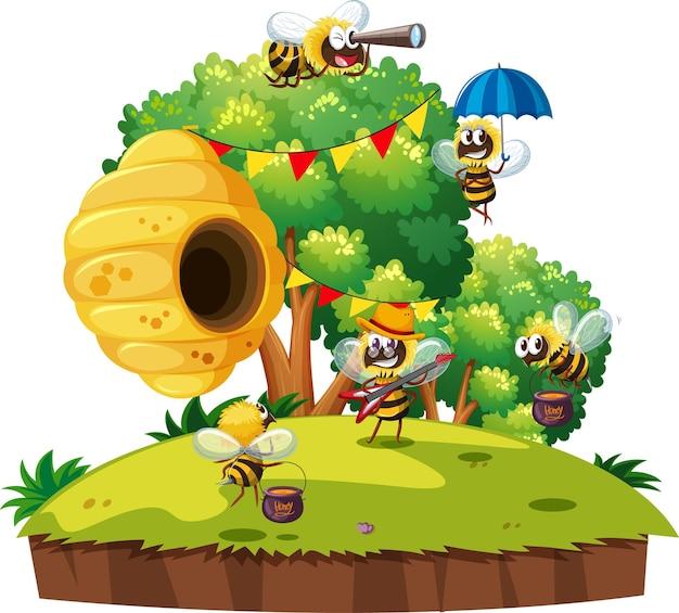 Molte api che vivono in giardino con nido d'ape isolato
