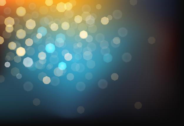 Многие яркие размытые огни на темном фоне. фотоэффект