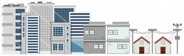多くの建物と白い背景の上の家