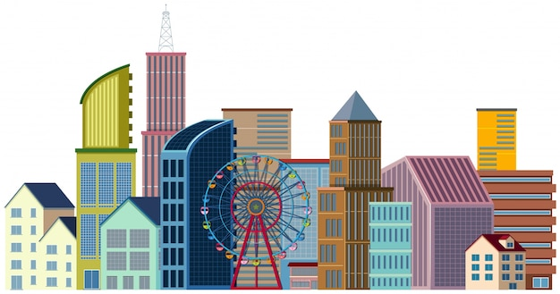 Many buildings and ferris wheel
