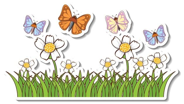 Molte farfalle che volano sopra l'adesivo del campo in erba