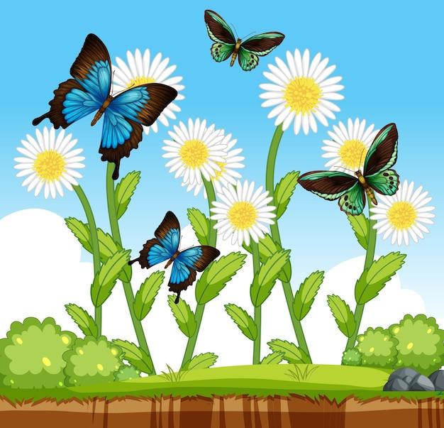 정원 장면에서 많은 꽃을 가진 많은 나비
