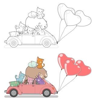 車とハートの風船を持つ多くの猫とクマの漫画は子供のためのページを簡単に着色します
