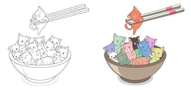 Many cat in the bowl cartoon easily coloring page for kids