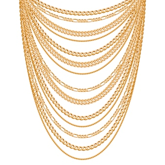 Many chains golden metallic necklace. personal fashion accessory .