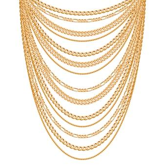 多くのチェーンゴールデンメタリックネックレス。個人的なファッションアクセサリー。