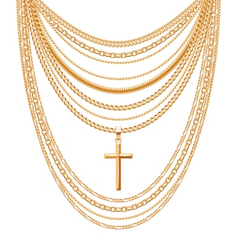 Many chains golden metallic necklace with cross. personal fashion accessory .