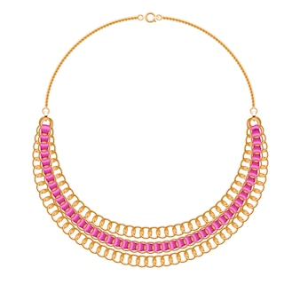 Many chains golden metallic necklace with pink ribbons. personal fashion accessory .