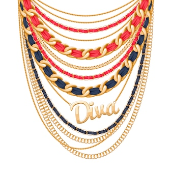 Many chains golden metallic and pearls necklace. ribbons wrapped. diva word pendant. personal fashion accessory .