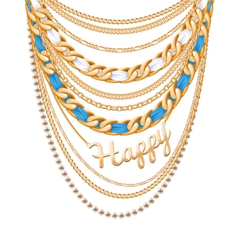 Many chains golden metallic and pearls necklace. ribbons wrapped. happy word pendant. personal fashion accessory .